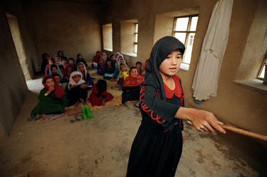 Girls in a school room in Nawadan. Under the Taliban, women and girls were excluded from education.