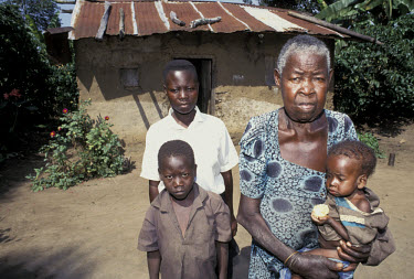 80 year old Lozaj Nabitutilett looks after her six orphaned grandchildren. Her five daughters all died of AIDS.