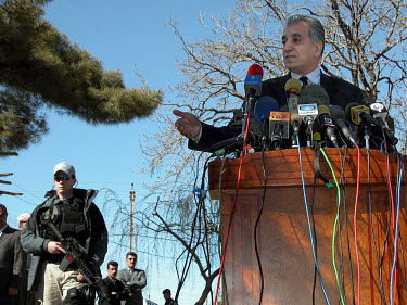 US special envoy for Iraq Zalmay Khalilzad speaks at a press conference.