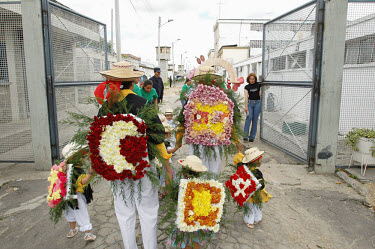 Elaborate costumes made for the beauty pageant held at the Buen Pastor women's prison. Seven contestants, ranging from assassins to thieves, left wing guerillas to right wing paramilitaries, vied for...