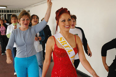 Luisa Mateus (22) competes in the beauty pageant at the Buen Pastor women's prison. Seven contestants, ranging from assassins to thieves, left wing guerillas to right wing paramilitaries, vied for the...