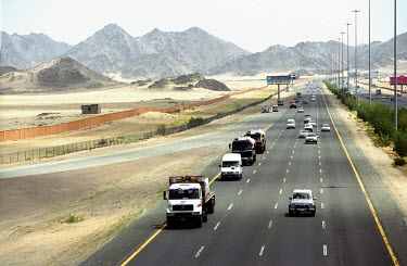 Traffic on the motorway from Jeddah to Mecca.