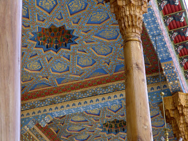 Detail of a ceiling at the Bakhauddin Nakshbandi Ensemble, a Sufic mausoleum complex.  Sufism.
