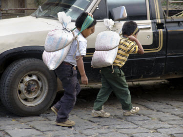 Boys carrying sacks of food to the market.