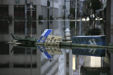 A deserted street in New Orleans, flooded in the aftermath of Hurricane Katrina.