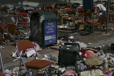 Piles of rubbish and discarded possessions at the New Orleans convention centre, where up to 25,000 people took refuge in squalid conditions following the flooding in the wake of Hurricane Katrina.