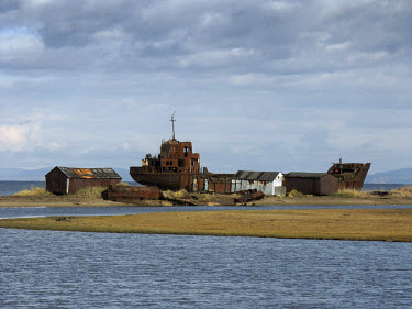 An abandoned and rusting ship in the far Eastern territories of Russia.