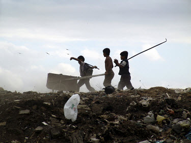 Children scavengers on a rubbish tip on the outskirts of the capital.