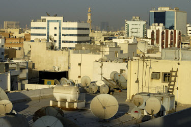 Satellite dishes on the roftops in the souk district, which was the original city centre.