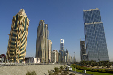 Modern skyscrapers line the Sheikh Zayed Road
