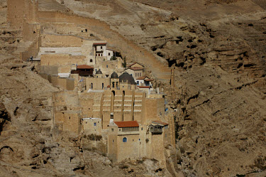 The Mar Saba Greek Orthodox monastery, carved into the walls of a canyon between Bethlehem and the Judean desert. It was founded by Saint Sabas in the 5th century AD.