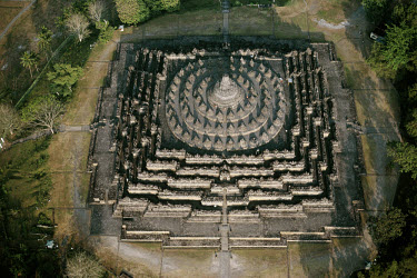 The Buddhist sanctuary of Borobodur, originally a steep pyramid dating from around 780 to 930 AD. The ancient archaeological remains are a UNESCO World Heritage Site, and were restored from their crum...