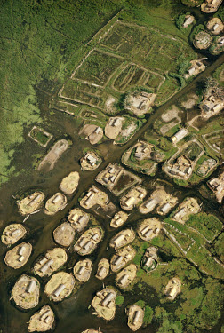Marsh Arab dwellings in the Hor al-Hammar area of marshland. Evidence exists that reed dwellings existed here as long ago as the 5th millennium BC. (249)