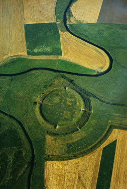 The Viking fortress at Trelleborg on the island of Sjaelland. The geometric fortress was built around 980 AD, and has a schematic plan of a circular rampart with four equdistant gates, bisecting stree...