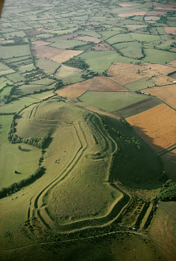 Earthworks on Hambledon Hill, dating from the causewayed enclosures of 3000 BC to the Iron Age hillfort of 600 BC. The hill proved a significant defence site from the Romans. (96)