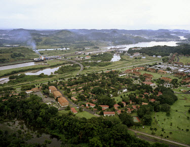 Fort Clayton, a former US Army base which was handed over to Panamanian control at the end of 1999. Established as a military base in the 1920s, it is now a 'City of Knowledge'. In the background, a c...
