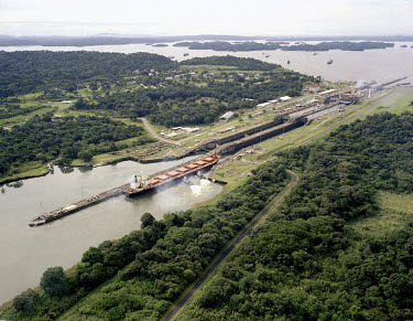 A ship passes through the Gatun lock of the Panama Canal.