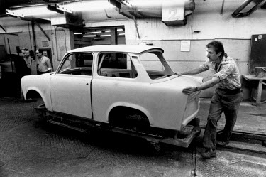 The production of the last few Trabant cars at the VEB Sachsenring Automobilwerke factory. VEB Sachsenring, an East German car manufacturer, ceased production of its iconic Trabant at the end of 1991.