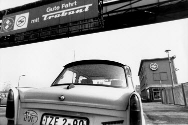 A Trabant car at the VEB Sachsenring Automobilwerke factory. VEB Sachsenring, an East German car manufacturer, ceased production of its iconic Trabant at the end of 1991.