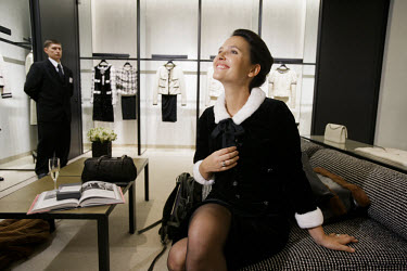 French actress Virginie Ledoyen at the opening of a new Chanel boutique in Moscow.