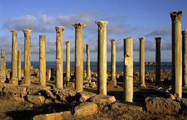 The Cipolin marble columns of the Christian Eastern Byzantine basilica in Apollonia, the ancient Cyrene harbour.