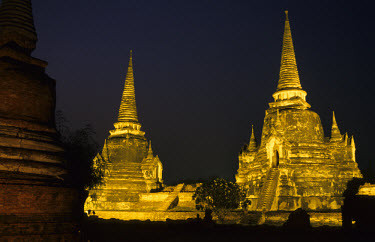 The Wat Phra Sri Sanphet temple at night. The temple was built in the 15th century.