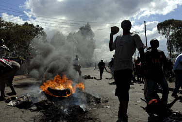 Riots in the Kibera slum. Later that evening four people were shot by police. Supporters of the opposition Orange Democratic Movement (ODM), who are popular in Kibera, were leading protests against di...
