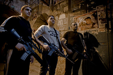 Armed members of the Al-Aqsa Martyrs' Brigade on the streets of Nablus.