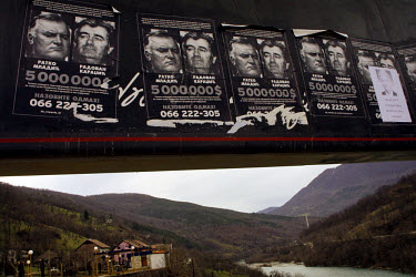 Wanted posters for Radovan Karadzic and Ratko Mladic on an advertising board near the town of Foca in Republica Srpska. Karadzic was believed to spend much of his time in these hills before his arrest...