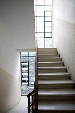Stairwell of a Bauhaus building. 2009 is the city's centenary, and the Bauhaus inspired architecture of the city will be one of the focus points of the celebrations. In 2003 the Bauhaus neighbourhoods...