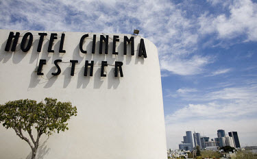 Cinema Esther built in 1940 by architect Genia Averbuch in Dizengoff Circus, with the new skyline behind. 2009 is the city's centenary, and the Bauhaus inspired architecture of the city will be one of...