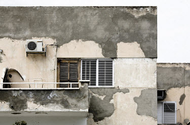 Detail of a neglected Bauhaus building on Yahuda Halevi Street. 2009 is the city's centenary, and the Bauhaus inspired architecture of the city will be one of the focus points of the celebrations. In...