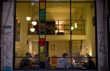 Bar in the Bauhaus style in the centre of Tel Aviv. 2009 is the city's centenary, and the Bauhaus inspired architecture of the city will be one of the focus points of the celebrations. In 2003 the Bau...
