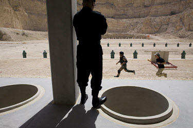 Jordanian special forces and trainers from the US on a shooting-range during the opening of the King Abdullah II Special Operations Training Center (KASOTC) near Amman. Jordan and the United States ha...