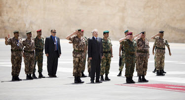 Jordan's King Abdullah II (third from right, red beret) during the opening of the King Abdullah II Special Operations Training Center (KASOTC) near Amman. Jordan and the United States have committed o...