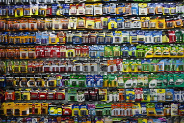 Batteries for sale displayed in the Yiwu Small Commodity Market. The city of Yiwu comprises of numerous export markets selling more than 17 million different products to more than 200 countries worldw...