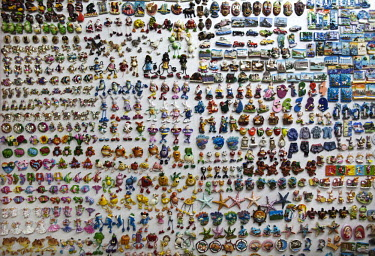 A wall full of decorative magnets for sale displayed in the Yiwu Small Commodity Market. The city of Yiwu comprises of numerous export markets selling more than 17 million different products to more t...