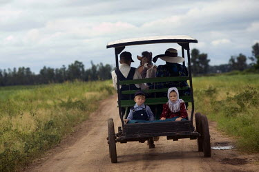 A family travel on a horse drawn carriage, the only type of transportation allowed, in a Mennonite village. Near the city of Santa Cruz, there are about 15,000 Mennonites living in isolated communitie...