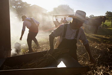 Men work on a farm next to a horse drawn carriage in a Mennonite village. Near the city of Santa Cruz, there are about 15,000 Mennonites living in isolated communities. Mennonites are a group of Chris...