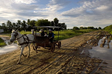 A family travel along a road in a horse drawn carriage, the only type of transportation allowed, in a Mennonite village. Near the city of Santa Cruz, there are about 15,000 Mennonites living in isolat...