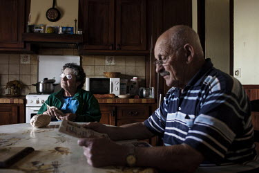Joseph Lacroix and his wife Marie Therese, both retired farmers in their house in Saint-Geours-de-Maremne.