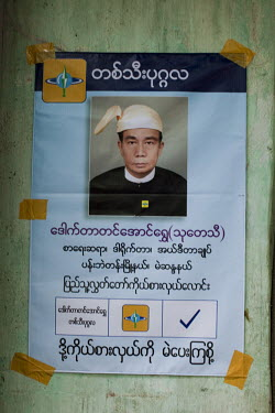 An election poster for an independent candidate posted on a wall in Rangoon (Yangon)  ahead of Burma's first multi-party elections since 1990. However, the main pro-democracy party, the NLD (National...