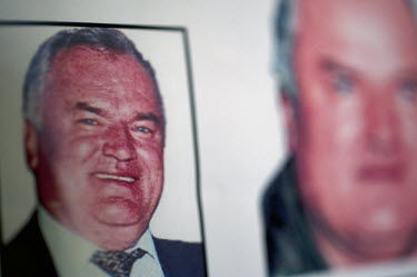 Wanted posters for former Bosnian Serb general Ratko Mladic. He is one of the most sought after suspects from the Bosnia conflict. He has been indicted by the UN war crimes tribunal on charges of geno...