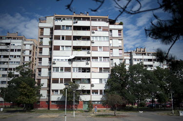 The apartment block in New Belgrade where former Bosnian Serb politician Radovan Karadzic was living at the time of his arrest for war crimes in 2008.