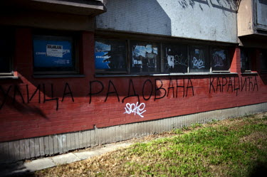 Graffiti sprayed on the apartment block in New Belgrade where former Bosnian Serb politician Radovan Karadzic was living at the time of his arrest for war crimes in 2008. It reads Radovan Karadzic Str...