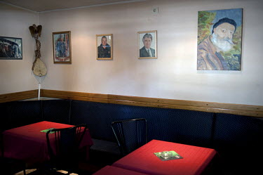 The Crazy House cafe/bar where former Bosnian Serb politician Radovan Karadzic spent much of his time in the18 months before his arrest for war crimes. Pictures of Karadzic and wanted former Bosnian S...