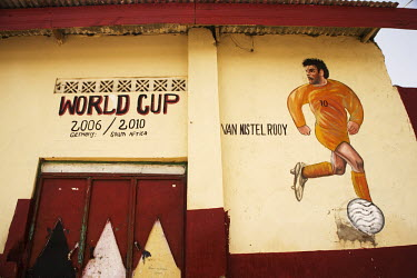 A mural of Dutch footballer Ruud Van Nistelrooy painted on  a wall in Hargeisa.