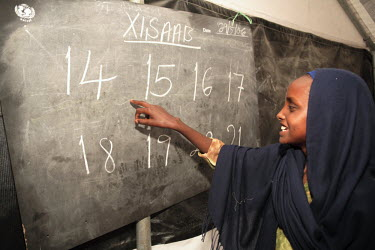 A teacher in a class at the UNICEF school in Dami IDP (internally displaced people) camp.