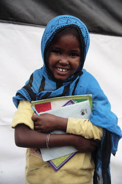 A child studying in the UNICEF school in Dami IDP (internally displaced people) camp.