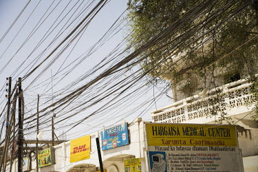 A mass of electricity wires in Hargeisa.